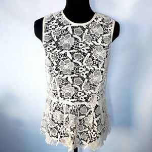 Cable lace peplum top